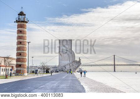 Lisbon, Portugal - March 02, 2016: Promenade To Monument Of The Discoveries, A Memory To The Discove