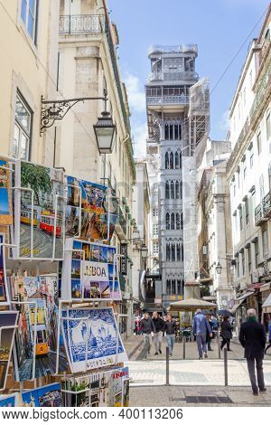 Lisbon, Portugal - March 5, 2016: Santa Justa Elevator With Postcards In The Front In Lisbon, Portug