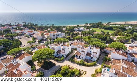 Aerial, Aldeia Vale De Lobo, Algarve, Portugal. An Ideal City In Europe To Spend Your Holidays.