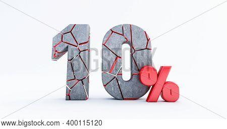 3d Render Of  Broken Ten Percent (10%)  Isolated On White Background, 10 Ten Percent Sale. Black Fri