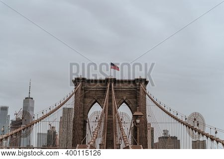 Brooklyn Bridge In New York City. Close Up Brownstone Brooklyn Bridge. Manhattan Skyline View From T