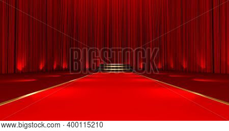 3d Render Of Red Carpet On The Round Podium With Steps. Red Carpet On The Stairs On A Red Silk Backg