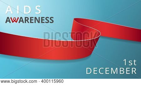 Realistic Red Ribbon. Awareness Acquired Human Immunodeficiency Syndrome Month Poster. Vector Illust