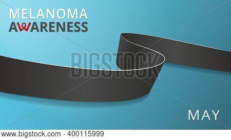 Realistic Black Ribbon. Awareness Melanoma Month Poster. Vector Illustration. World Melanoma Day Sol
