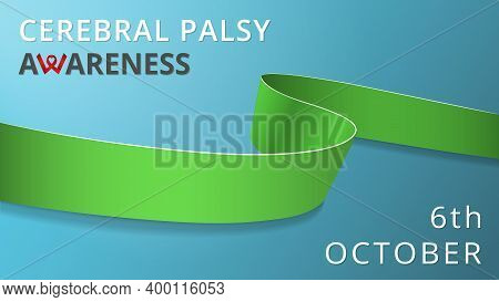 Realistic Lime Green Ribbon. Awareness Infantile Cerebral Palsy Month Poster. Vector Illustration. W