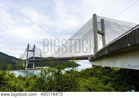 Hong Kong - November 15 2020 : Kap Shui Mun Bridge, One Of The Longest Cable-stayed Bridges In The W