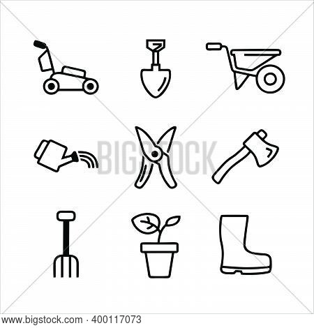 Gardening Concept, A Set Of Hand Garden Tools For Digging And Loosening Soil Marks On White Backgrou