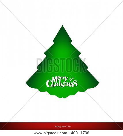 Merry Christmas greeting card with Christmas tree, vector illustration.