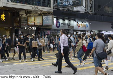 Hong Kong November 2020 : Pedestrians Wearing Mask To Prevent Infection During Coronavirus (covid-19