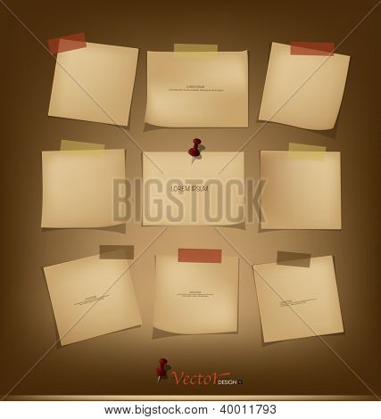 Collection of Vintage paper, ready for your message. Vector illustration.