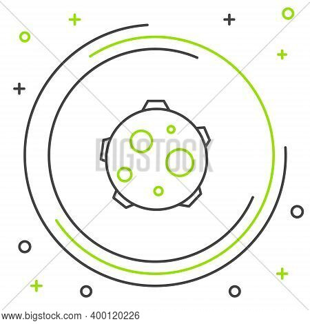 Line Ufo Abducts Cow Icon Isolated On White Background. Flying Saucer. Alien Space Ship. Futuristic