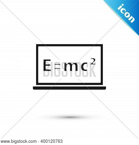 Grey Math System Of Equation Solution On Chalkboard Icon Isolated On White Background. E Equals Mc S