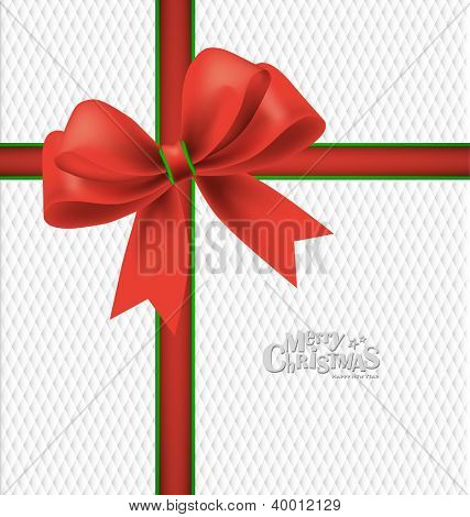 Elegant Christmas background with red bow, vector illustration.