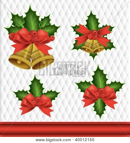 Christmas background with Christmas bells, vector illustration.