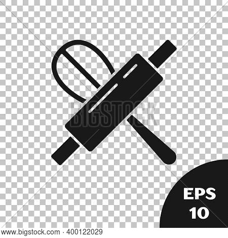 Black Kitchen Whisk And Rolling Pin Icon Isolated On Transparent Background. Cooking Utensil, Egg Be