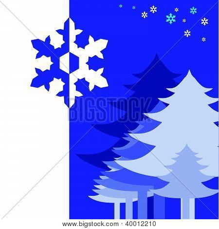 pine tree on the blue snowflake