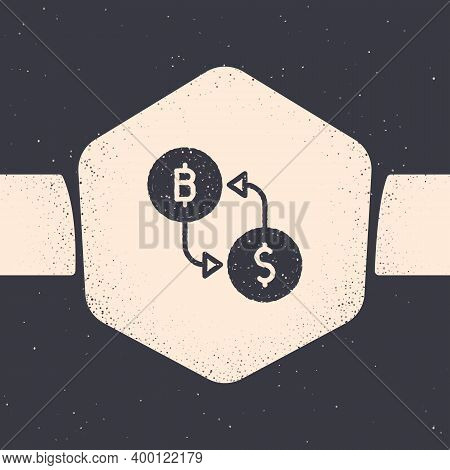 Grunge Cryptocurrency Exchange Icon Isolated On Grey Background. Bitcoin To Dollar Exchange Icon. Cr