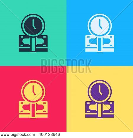 Pop Art Time Is Money Icon Isolated On Color Background. Money Is Time. Effective Time Management. C