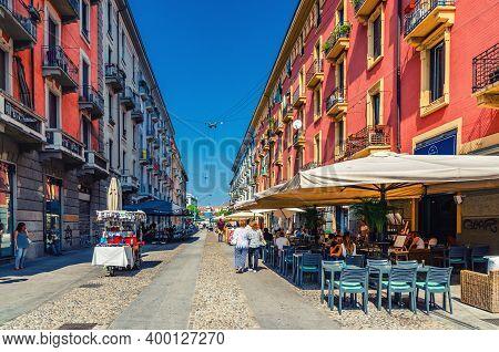 Milan, Italy, September 9, 2018: Via Casale Pedestrian Street With Restaurants, Traditional Building
