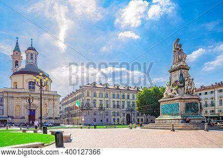 Turin, Italy, September 10, 2018: Monumento A Camillo Benso Conte Di Cavour Statue On Piazza Carlo E