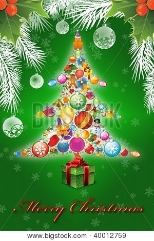 Merry Christmas illustration on the green background