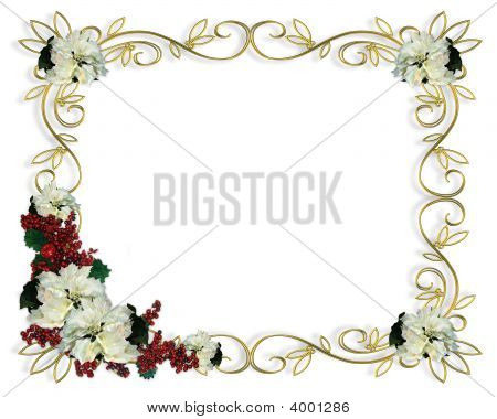 Christmas Frame Gold Filigree White Poinsettias