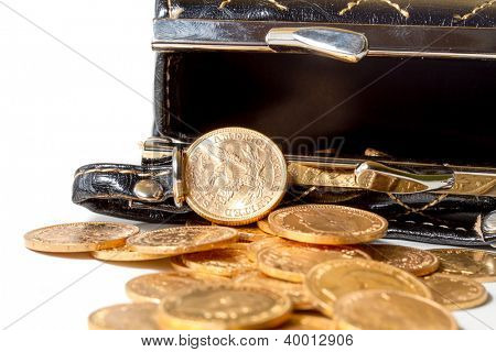 Classy female purse with gold coins