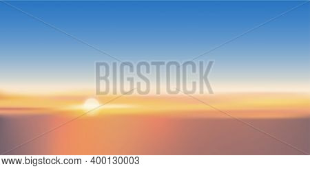 Sunset With Orange And Blue Sky In Evening, Beautiful Colourful Natural Twilight Sky On Spring Or Su