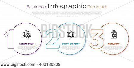 Set Line World Globe And Israel, Star Of David And Shopping Bag With Star David. Business Infographi