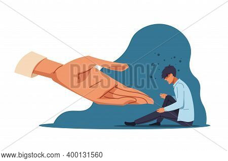 Human Help. Cartoon Lonely Anxiety Person In Depression And Supporting Hand. Confused Man Sitting On