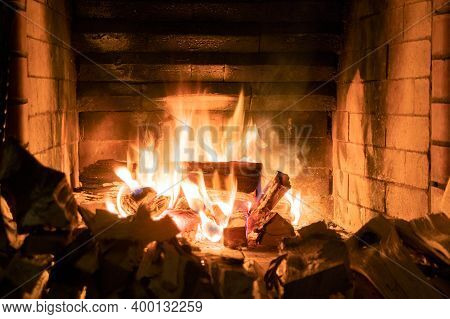 Flames In The Fireplace. Burning Of Log. Flames Of Fire. Burning Fireplace