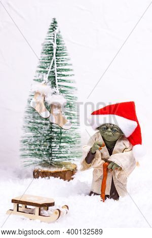 Vinnytsia, Ukraine - 16 December, 2020. A Popular Character In The Cult Movie Star Wars - Master Yod