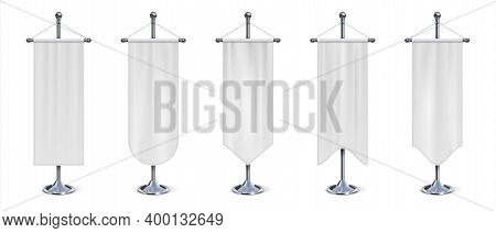 Vertical Flag Banner. Realistic Hanging White Cloth On Chrome Stand. Empty Exhibition Pennant, Blank