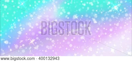 Magic Background. Holographic Unicorn Fairy Pattern With Glitter And Rainbow Mesh, Magic Fantasy Gra