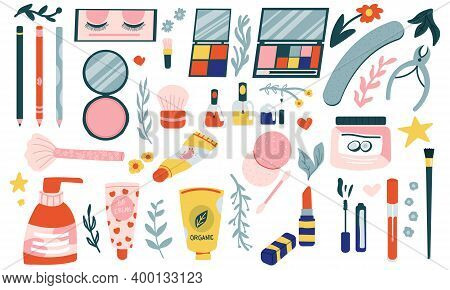 Cartoon Cosmetic. Doodle Hand Drawn Beauty Products. Isolated Shampoo And Lotion, Mascara Or Lipstic