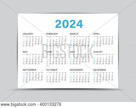 Calendar 2024 Template - 12 Months Yearly Calendar Set In 2024, Planner, Wall Calendar, Vector Illus