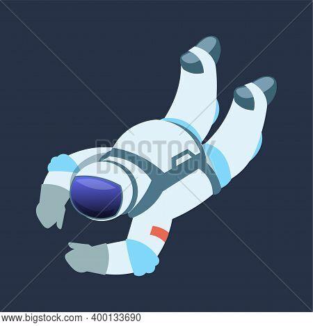 Astronaut. Cartoon Cosmonaut Drifts In Zero Gravity Space. Galaxy Explorer Wears Spacesuit With Helm