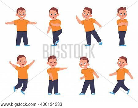Boy Expressions. Cartoon Little Kid Character Laughing And Crying Or Afraid, Sad Or Cheerful Mood. C