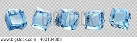 Ice Cubes. Realistic Transparent Freeze Water For Alcohol And Beverage For Cooling, Advertising Elem