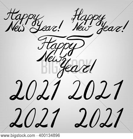 New Year Black Ink Lettering Set: 2021, Happy New Year