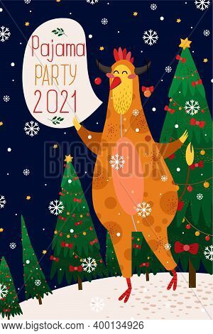 Christmas And New Year Card With Zodiac Rooster In Yellow Bull-shaped Pajamas For 2021. Vector Illus