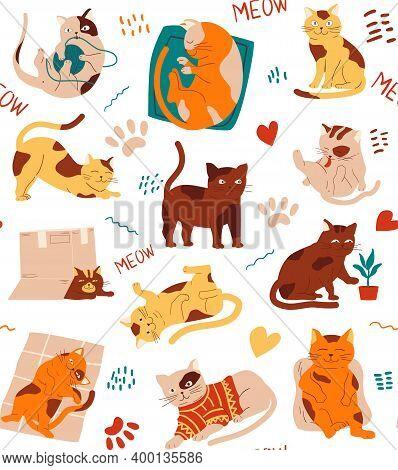 Cat Pattern. Seamless Texture Of Funny Kittens, Cartoon Hand Drawn Pets. Cute Animal Activities, Kit