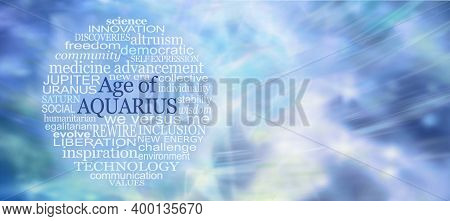 Words Associated With The Age Of Aquarius Word Tag Cloud - A Circular Word Cloud Relevant To The New