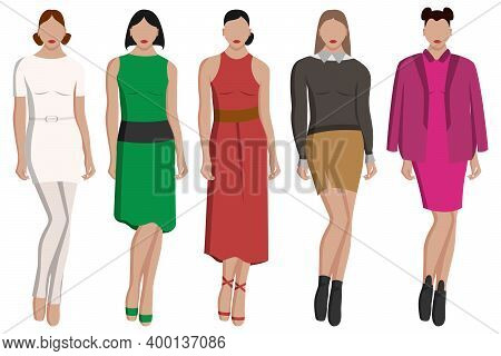 Women's Evening Dresses In Different Colors And Styles, Trousers, Skirt, Sweater And More. Vector Il