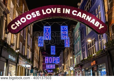 London, Uk - November 1, 2020: A View Looking Along Carnaby Street Showing The 2020 Christmas Lights