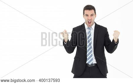 Business Men Are Very Happy Isolated On White Background,copy Space