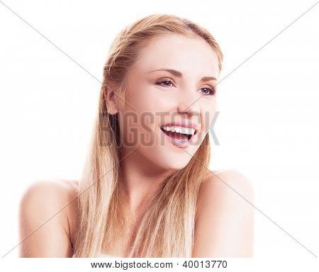 portrait of a happy beautiful laughing woman against white background