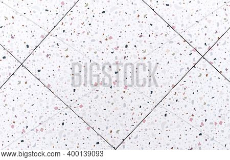 White Porcelain Stoneware Tiles With Colored Crumbs.