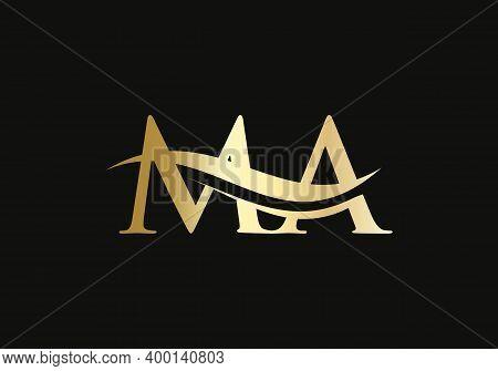 Minimalist Letter Ma Logo Design With Water Wave Concept. Ma Letter Logo Design