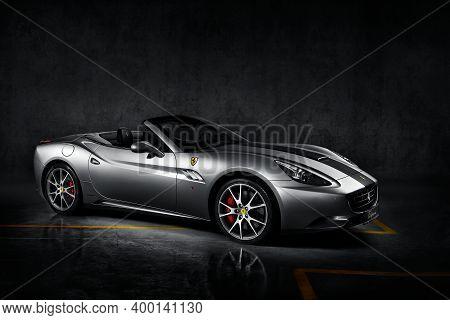 Katowice, Poland - 26.06.2013: Silver Ferrari California. Cabriolet With V8  Engine, 4,3l, 460 Hp. M